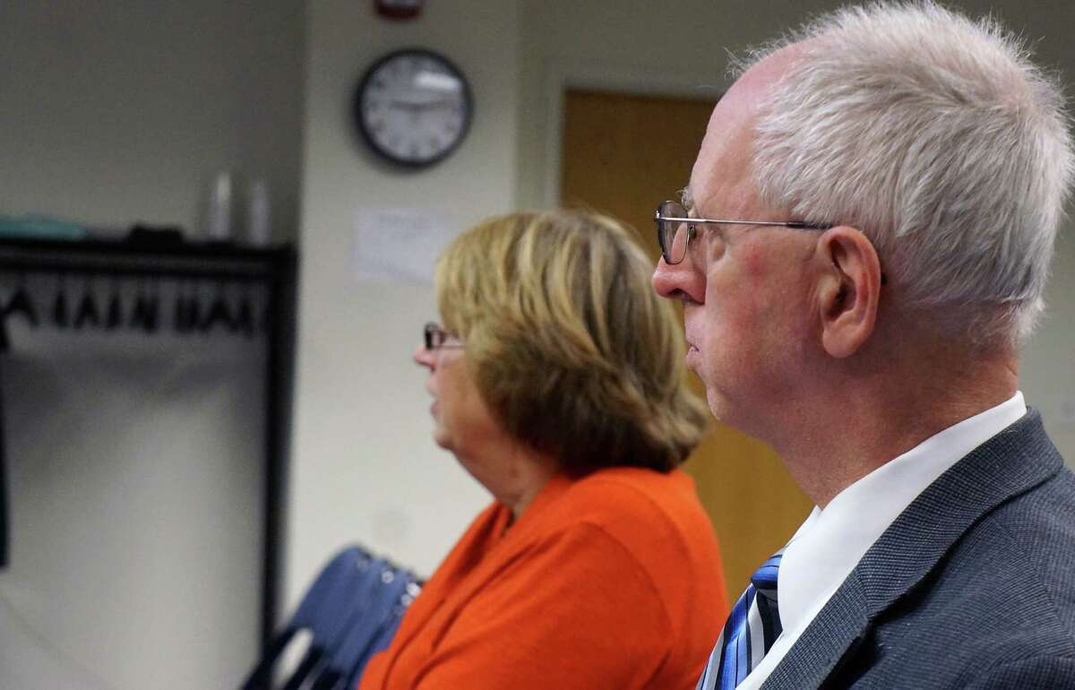 Tax Collector Cinda Buchter and Assessor Donald Ross answer questions about the town's tax-relief programs for the elderly at Monday's Representative Town Meeting. FAIRFIELD CITIZEN, CT 9/23/13