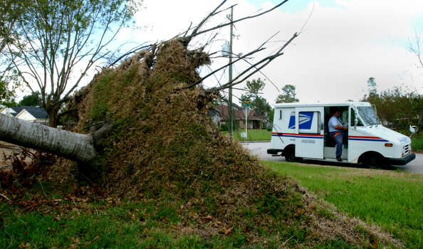 Patrick Brewer, a letter carrier for the US Postal Service, drives past an uprooted tree as he delivers mail in Beaumont, Texas Tuesday October 4, 2005. 