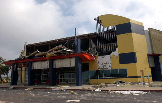 The front of the Hollywood Theater at Parkdale Mall in Beaumont, Texas on Monday, Sept 26, 2005, after its front was destroyed Saturday by Hurricane Rita.