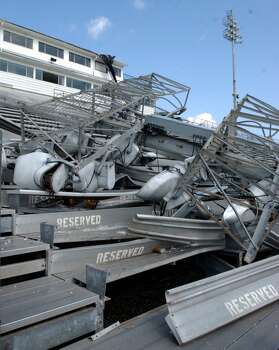 The football stadium at Memorial High School in Port Arthur was heavily damaged during Hurricane Rita. Enterprise file photo Photo: File / Beaumont