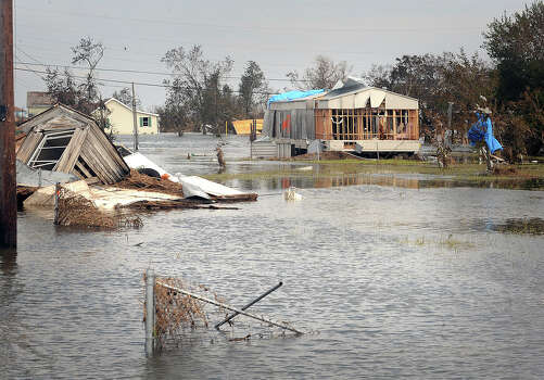 After Hurricane Rita tore through Sabine Pass, citizens were required to rebuild homes twelve feet above sea level to receive assists. Those homes still at ground level were devastated by Hurricane Ike.