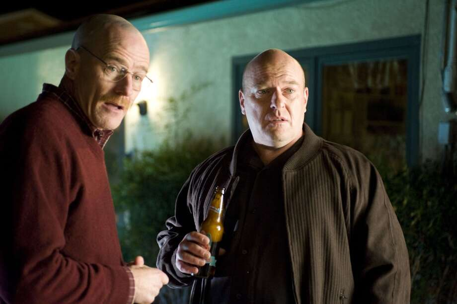 Walter White (Bryan Cranston) and Hank Schrader (Dean Norris) in Breaking Bad.