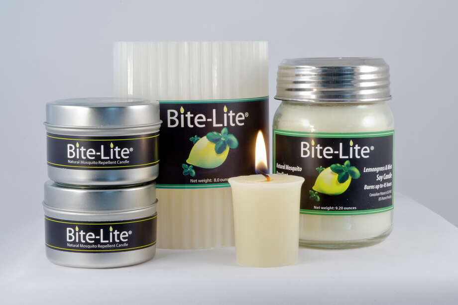 Fluted Luminary Candle ($19.99), Premium Soy Jar Candle ($14.99), Premium Soy Candle Tin ($6.99), Votive Candle 3 Pack ($6.99). Not sold in San Antonio stores, according the website, but buy them online at http://bite-lite.com/retail/. Photo: Emily Spicer, Courtesy Photo / Bite-Lite Mosquito Repelling Can