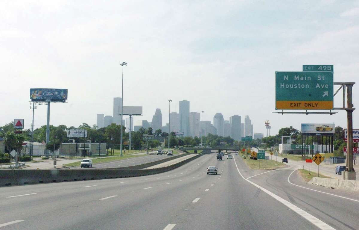 The Houston freeways were nearly empty along I-45 north of downtown Houston after two days of evacuations from Galveston, Texas and the low lying gulf coast areas, September 23, 2005.