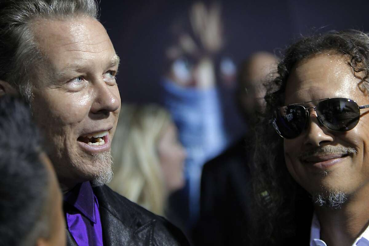 Lead singer James Hetfield and Kirk Hammett speak to the press as members of the band Metallica attended the U.S. premiere of the movie,