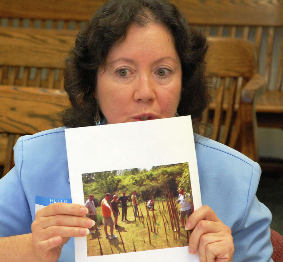Caryn Rickel, president and CEO of the Seymour-based Institute of Invasive Bamboo Research, shows a picture of damage done by bamboo to a Tuesday meeting of the Representative Town Meeting's Ordinance Committee.  WESTPORT NEWS, CT 9/24/13 Photo: Jarret Liotta / Westport News contributed