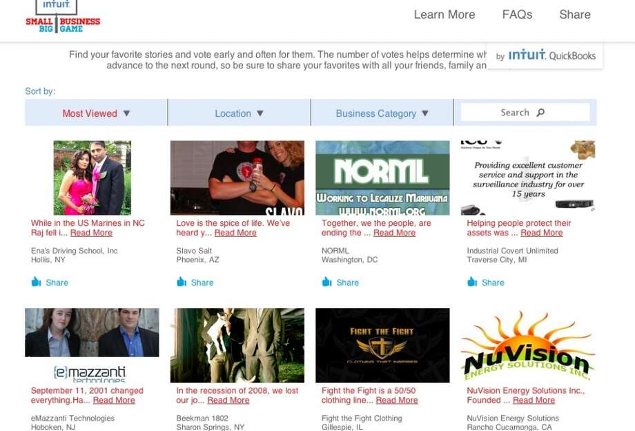 Screen grab from Intuit's contest page - It's even high on the most-views. (Curiosity must be playing a role here.)