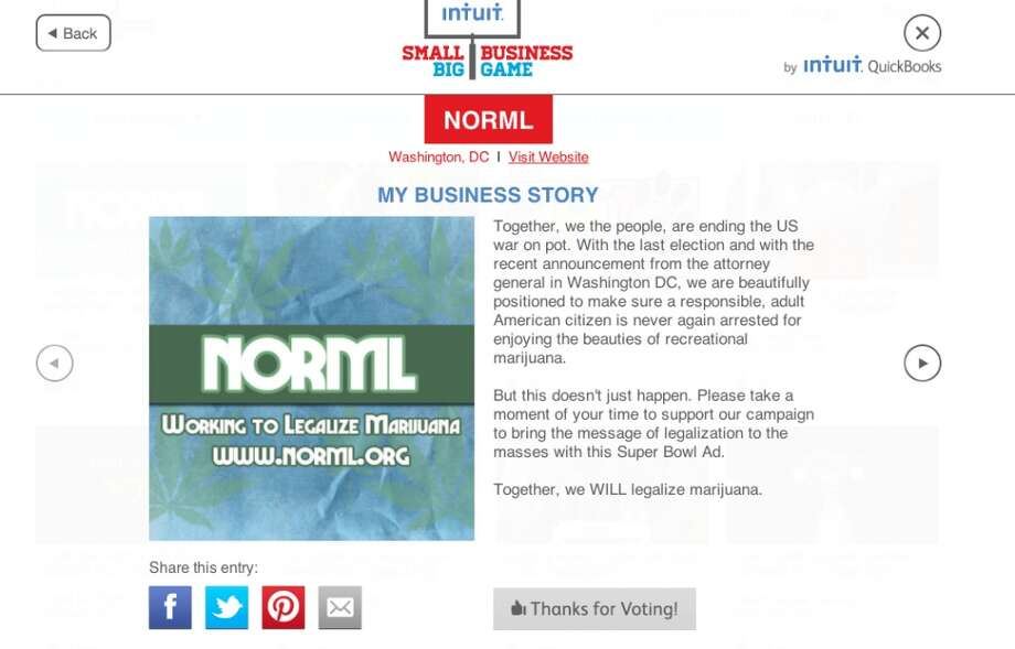 NORML's pitch in the Intuit competition.
