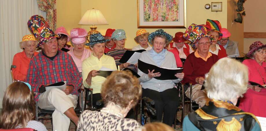 "The Inn Notes, a singing group comprised of 16 New Canaan Inn residents, recently performed its fall concert ""Jukebox Jive ñ Songs of the Fabulous Fifties"" wearing festive hats to mark the occasion and theme. Photo: Contributed"