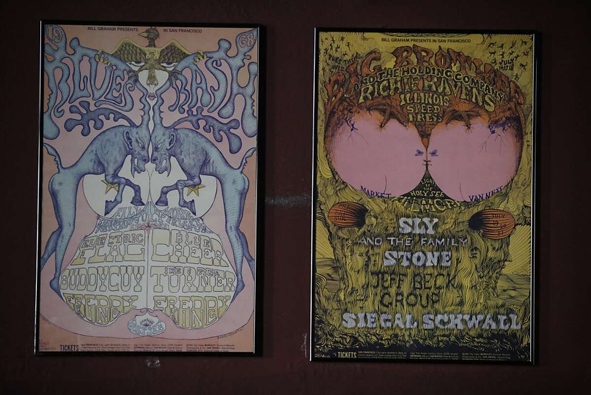 Posters from the Fillmore West shortly after it opened hang in a room filled with posters at the Fillmore on Thursday, September 12, 2013 in San Francisco, Calif.
