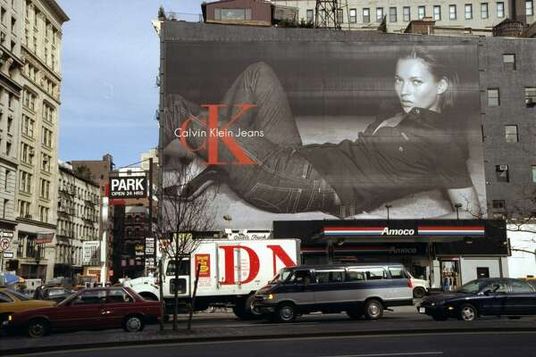 Kate Moss Calvin Klein billboard in New York City in 1999.