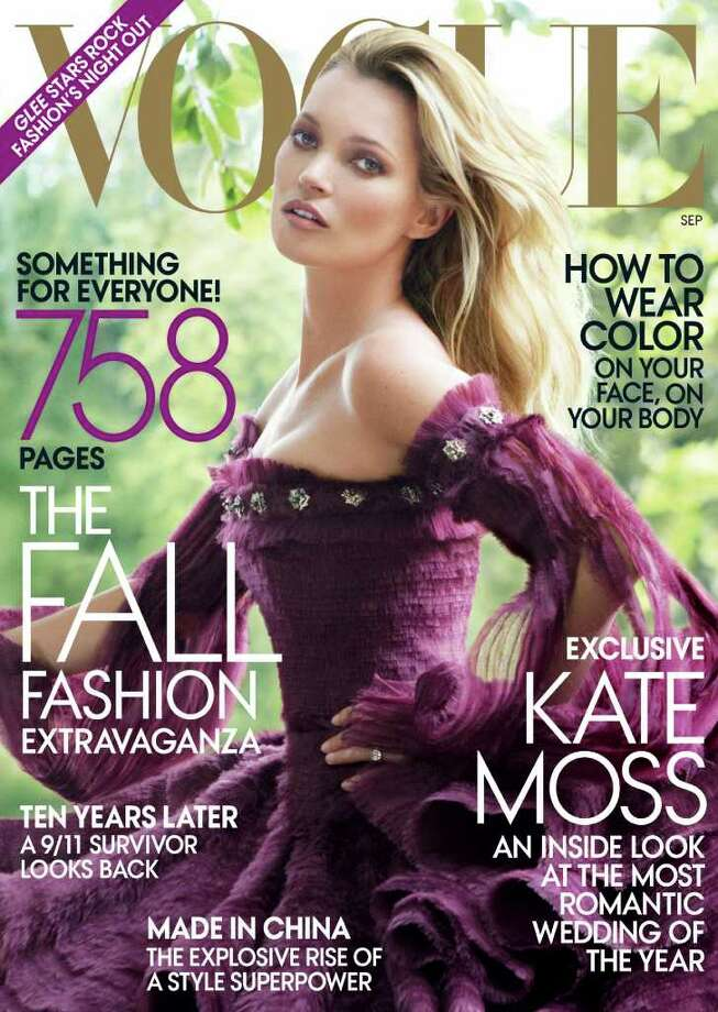 "Kate Moss on the cover of ""Vogue"" in September of 2011. Photo: Mario Testino, Vogue/AP"