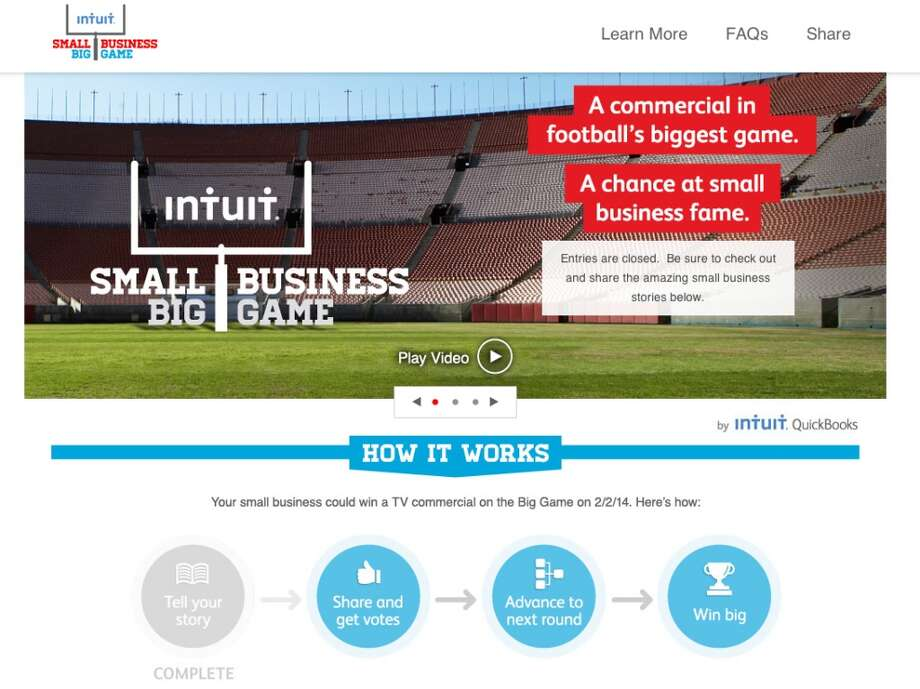 Home screen (grab) for Intuit's contest for small businesses seeking a commercial during the Super Bowl.