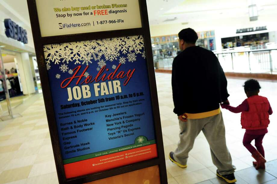 A holiday job fair for seasonal jobs is advertised on Tuesday, Sept. 24, 2013, at Colonie Center in Colonie, N.Y. (Cindy Schultz / Times Union) Photo: Cindy Schultz / 00023976A