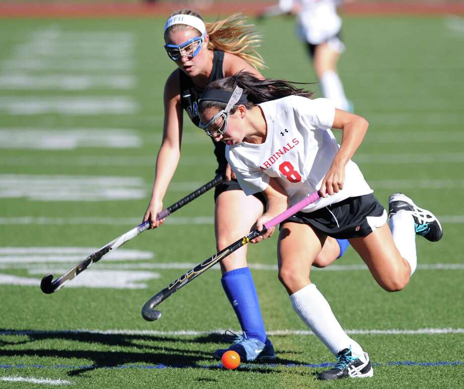 Paige Mautner (# 8) of Greenwich during the girls high school field hockey match between Greenwich High School and Darien High School at Cardinal Stadium, Greenwich, Tuesday, Sept. 24, 2013. Darien defeated Greenwich, 5-1. Photo: Bob Luckey / Greenwich Time