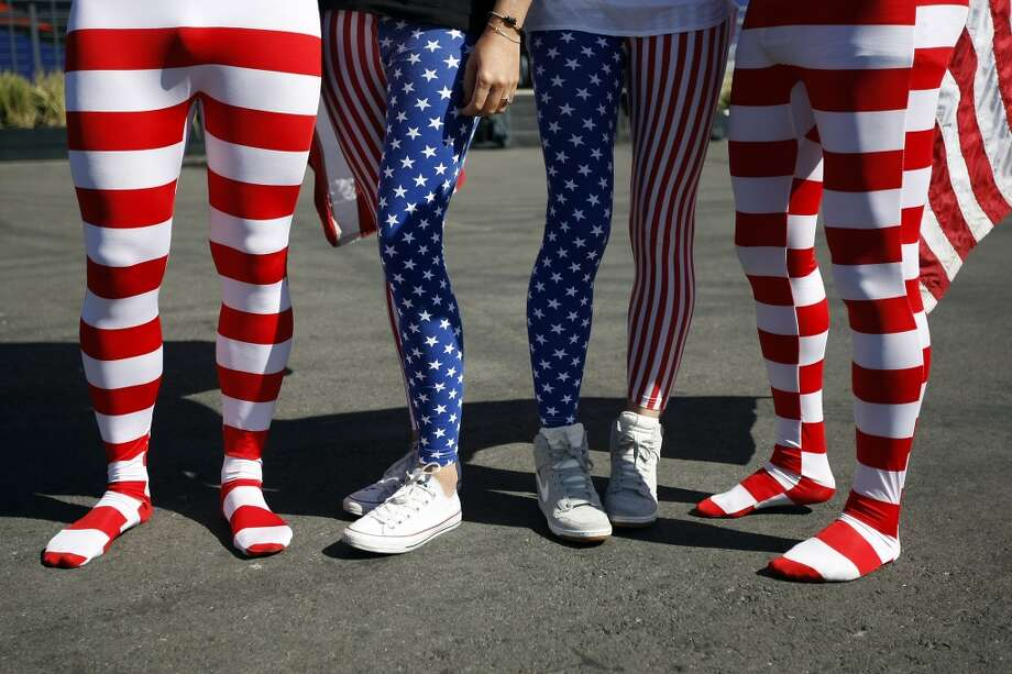 Fans with American flag leggings are seen before the start of race 17 of the America's Cup Finals in San Francisco, CA Tuesday September 24, 2013. Photo: Michael Short, The Chronicle