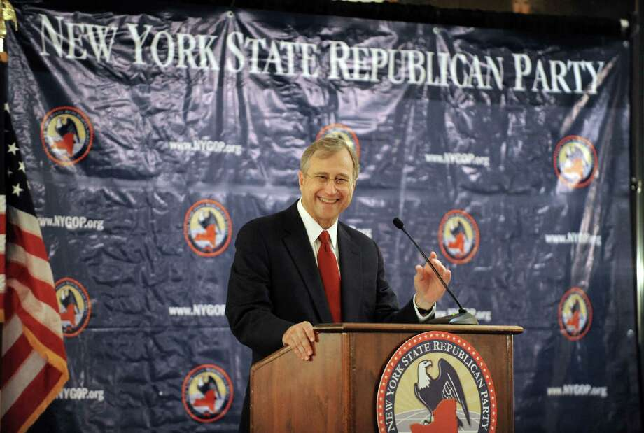 Ed Cox speaks after being renomited as the New York State Republican Party chairman during a state Republican Party meeting at the Desmond Hotel on Tuesday Sept. 24, 2013 in Colonie, N.Y. (Michael P. Farrell/Times Union) Photo: Michael P. Farrell / 00023978A