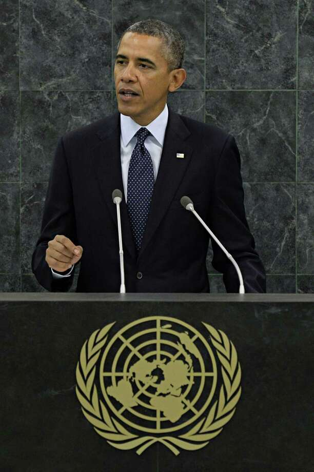 United States President Barack Obama speaks at the 68th United Nations General Assembly on September 24, 2013 in New York City. Over 120 prime ministers, presidents and monarchs are gathering this week at the UN for the annual meeting. AFP PHOTO/POOL Andrew BurtonAndrew Burton/AFP/Getty Images Photo: ANDREW BURTON / 2013 Getty Images