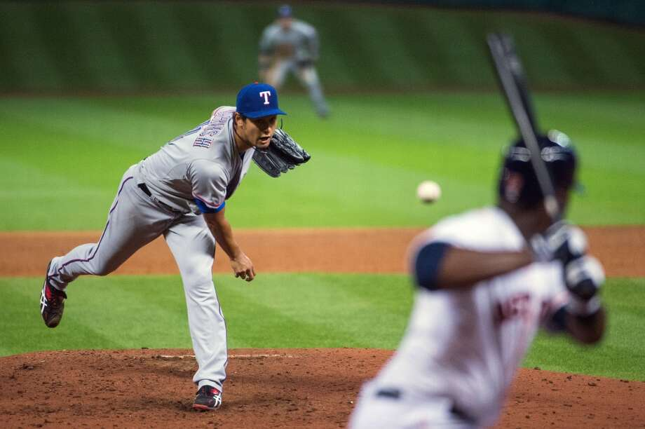 After a rousing opening night win on national TV over the Rangers, reality set in quickly for the Astros. In Game 2, Yu Darvish had a perfect game until two outs in the ninth before Marwin Gonzalez singled to end it. It was the first of six consecutive losses and a 7-19 record in April that confirmed this would be another 100-loss season. Photo: Smiley N. Pool, Houston Chronicle