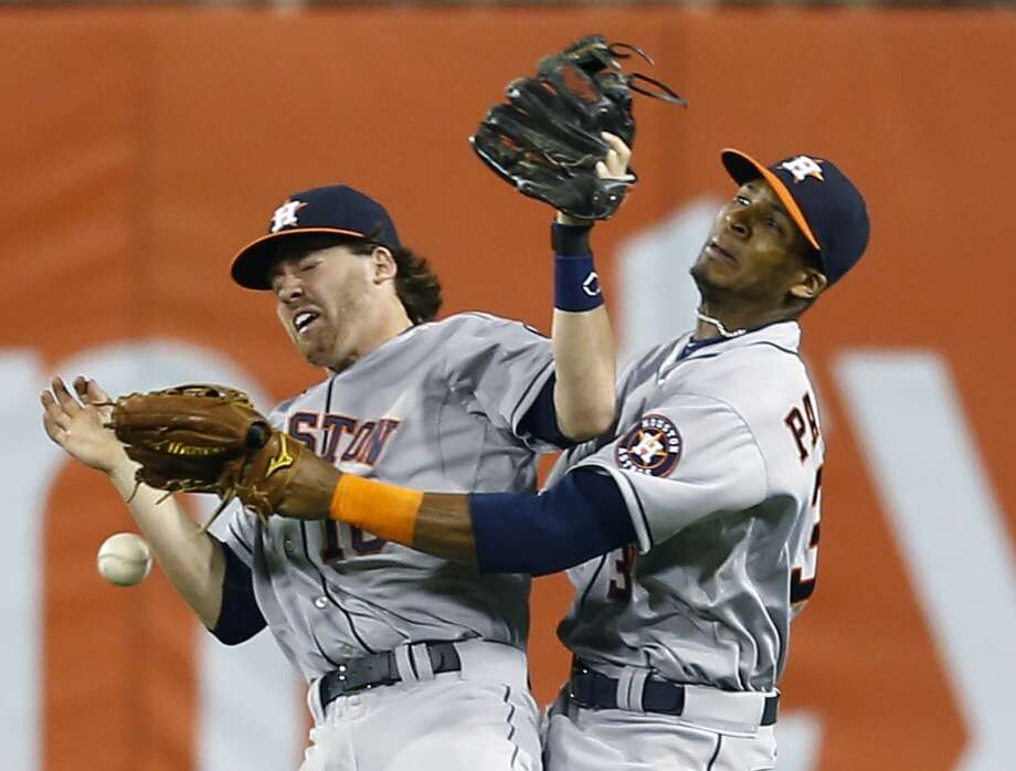 There have been plenty of instances where inexperience burned the Astros this season. A memorable gaffe came when second baseman Jake Elmore and right fielder Jimmy Paredes collided when trying to catch a fly ball against the Pirates in the ninth inning. Neither player caught the ball as it fell to the ground and led to a 5-4 loss to the Pirates on May 17. The loss dropped Houston to 11-31. Photo: Keith Srakocic, Associated Press