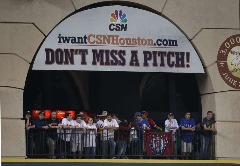 The debut of the Astros on CSN Houston  didn't attract any more carriers for the new network than the Rockets did in their playoff run. The network, of which the Astros own 46 percent, was supposed to bring more money for Jim Crane to spend on free agents but so far hasn't done that as only 40 percent of Houston has access to the channel. Astros' ratings hit a record-low with an official Nielsen rating of 0.0 – no viewers – for a game against the Indians on Sept. 22. On Sept. 27, the network filed for Chapter 11 bankruptcy. Photo: Karen Warren, Houston Chronicle