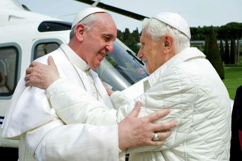 Emeritus Pope Benedict XVI's letter was revealed just two weeks after the publication of a similar letter from Pope Francis to another atheist. Photo: Osservatore Romano / Associated Press
