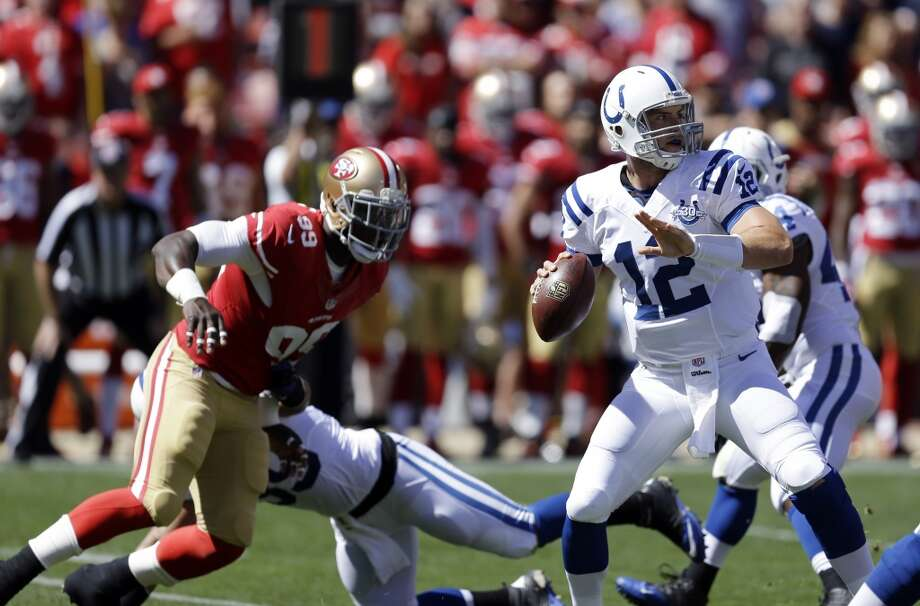 13. Colts (2-1) Last week: 22  After struggling in their first two games at home and going 1-1, the Colts shocked the NFL with their lopsided victory at San Francisco. Photo: Ben Margot, Associated Press