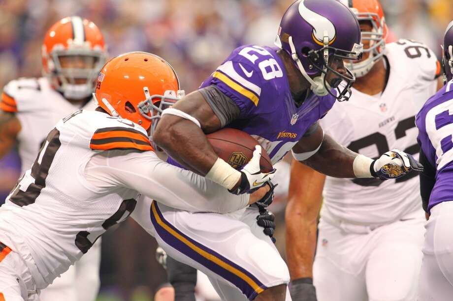 29. Vikings (0-3) Last week: 28  Adrian Peterson's goal of becoming the first to rush for 2,000 yards in consecutive seasons is off to a slow start with 281, ranking fifth. Photo: Adam Bettcher-, Getty Images