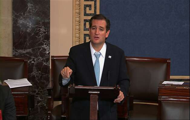 This video frame grab image from Senate TV show Sen. Ted Cruz, R-Texas speaking on the Senate floor on Capitol Hill in Washington, Wednesday, Sept. 25, 2013. The Democratic-controlled Senate is on a path toward defeating tea party attempts to dismantle President Barack Obama's health care law, despite an overnight talkathon on the chamber's floor led by Cruz.  (AP Photo/Senate TV) Photo: Associated Press