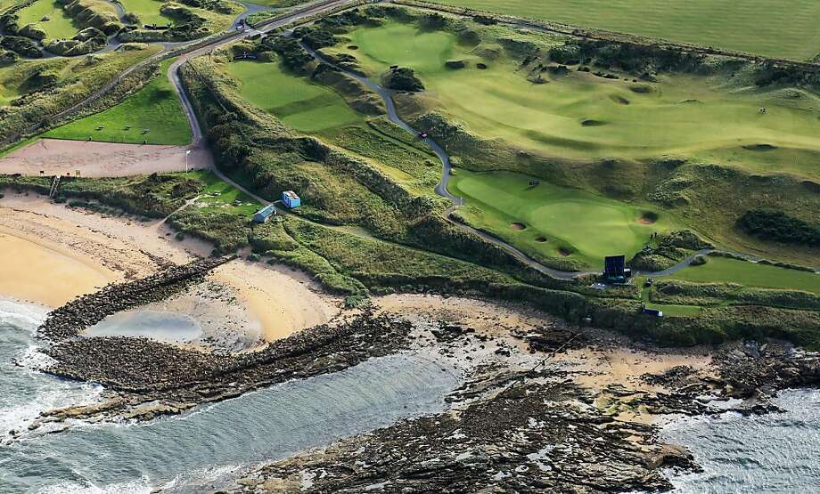 Gorgeous golf greenery:  An aerial view of the par 3, second hole (by the water) and the par 4, 5th hole on the course at Kingsbarns during practice for the 2013 Alfred Dunhill Links Championship on September 25, 2013 in Kingsbarns, Scotland. Photo: David Cannon, Getty Images