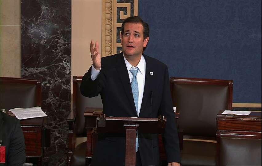 This video frame grab image from Senate TV show Sen. Ted Cruz, R-Texas speaking on the Senate floor