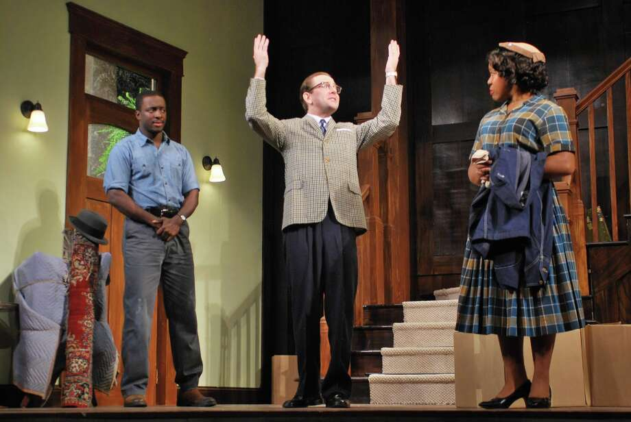 "Andy Lucien, Greg Jackson and Lynnette R. Freeman in Barrington Stage Company's ""Clybourne Park,"" fall 2013. (Brian Jones)"