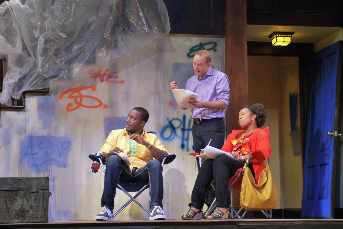 """Andy Lucien, Kevin Crouch and Lynnette R. Freeman in Barrington Stage Company's """"Clybourne Park,"""" fall 2013. (Brian Jones)"""