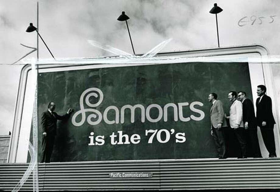 Lamonts' U Village sign in 1970.  Photo: P-I File, -