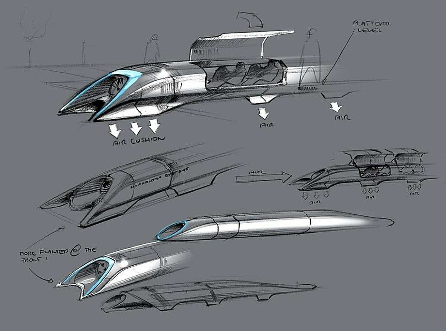 "This image released by Tesla Motors shows a conceptual design sketch of the Hyperloop passenger transport capsule. Billionaire entrepreneur Elon Musk on Monday, Aug. 12, 2013 unveiled the concept for a transport system he says would make the nearly 400-mile trip in half the time it takes an airplane. The ""Hyperloop"" system would use a large tube. Inside, capsules would float on air, traveling at over 700 miles per hour. (AP Photo/Tesla Motors) Photo: Associated Press"