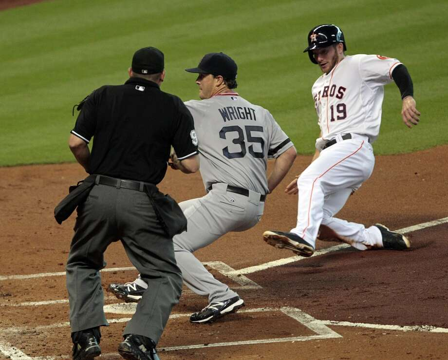 Aug. 6 – The Astros go up 5-0 early on the Red Sox after pitcher Steven Wright, in his first career start, gave up three runs on the first inning on four passed balls and a wild pitch (his catcher Ryan Lavarnay wasn't doing him any favors, either). But to prove no lead was safe for the Astros in 2013, the Astros give up 15 runs between the 3rd and 7th inning to lose before a crowd that seemed to cheer louder for the Sox at time than the Astros. Photo: Billy Smith II / Houston Chronicle