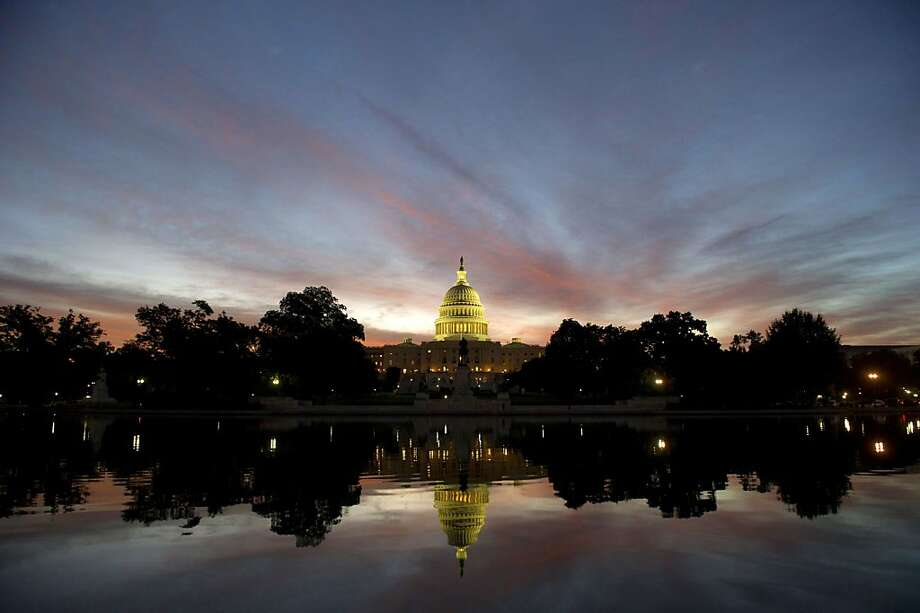 Is Cruz still yakking inside? The Capitol dome glows at sunrise in Washington. Photo: Saul Loeb, AFP/Getty Images