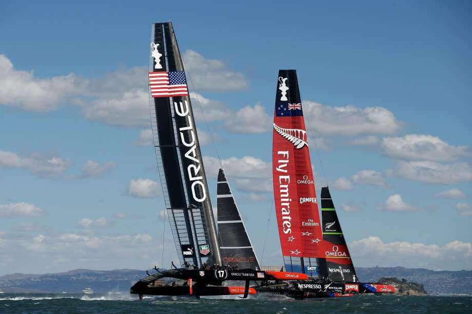 Oracle Team USA skippered by James Spithill Emirates and Team New Zealand skippered by Dean Barker compete during the final race of the America's Cup on September 25, 2013 in San Francisco, California. Photo: Ezra Shaw, Getty Images