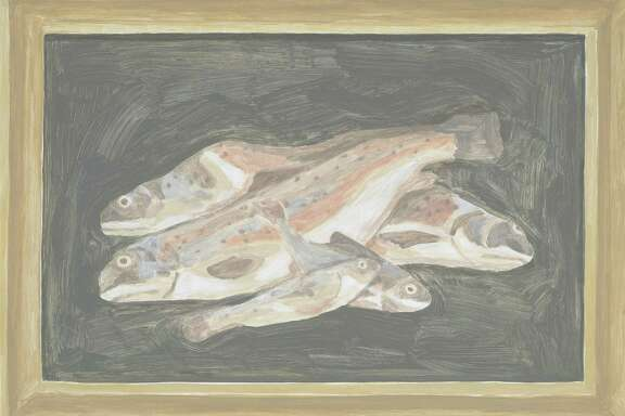 """""""Fish"""" is among the softly washed paintings by Francesca Fuchs that re-interpret other artworks she owns. They're on view at Texas Gallery in a salon-style installation."""
