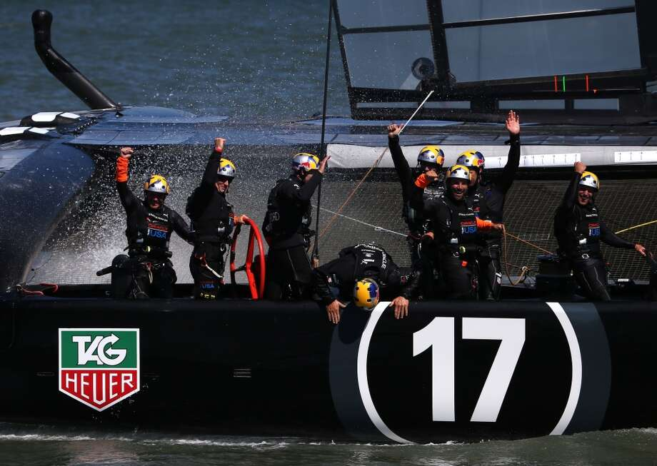 Oracle Team USA skippered by James Spithill celebrates after defending the cup as they beat Emirates Team New Zealand to defend the America's Cup during the final race on September 25, 2013 in San Francisco, California. Photo: Justin Sullivan, Getty Images