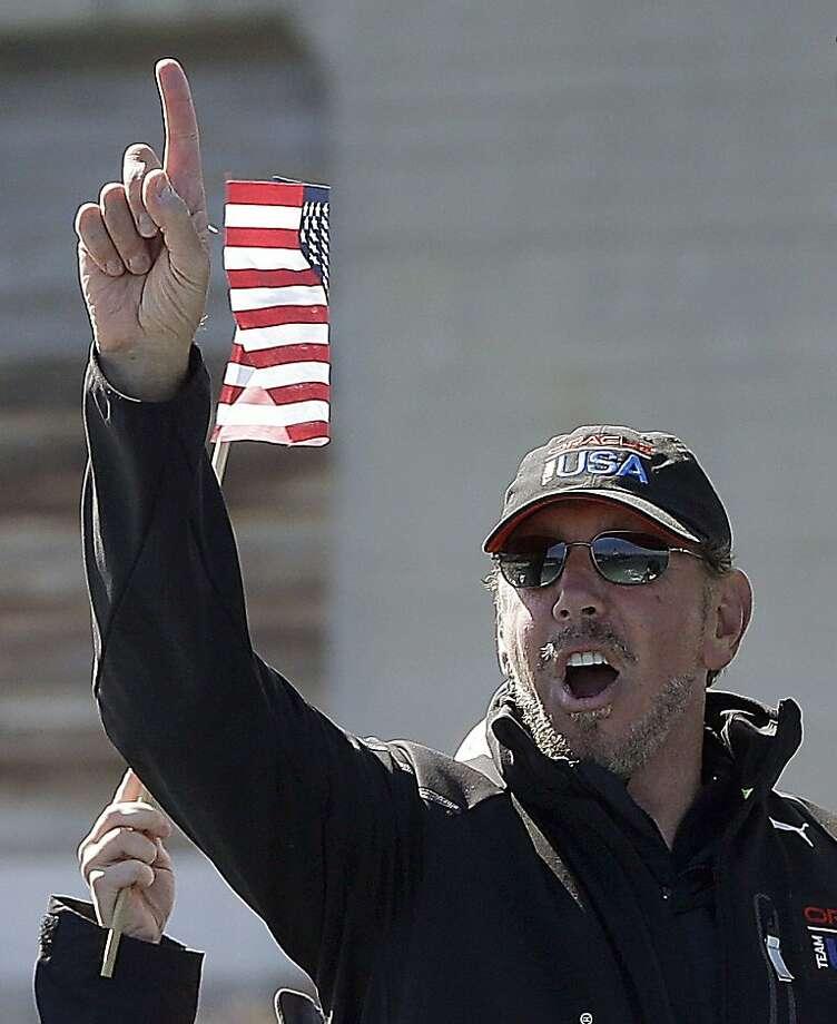 Ellison celebrates big win. Photo: Ben Margot, Associated Press