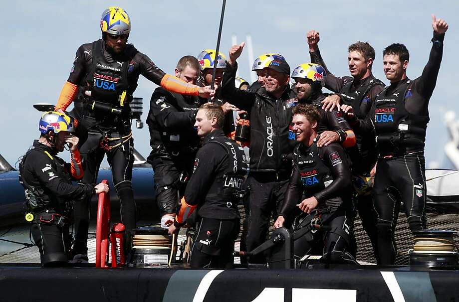 Oracle CEO Larry Ellison celebrates with his Oracle Team USA won Race 19 of the America's Cup Finals to take the America's Cup trophy on Wednesday, September 25, 2013 in San Francisco, Calif. Photo: Beck Diefenbach, Special To The Chronicle