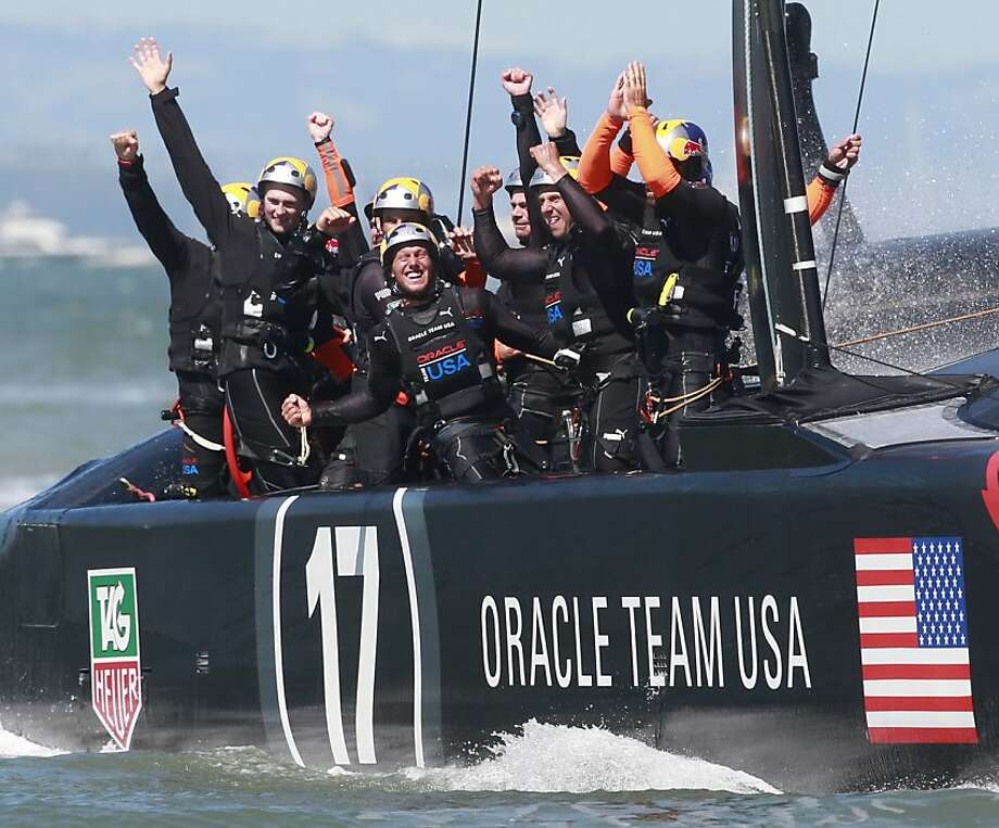 Oracle Team USA celebrates after winning Race 19 of the America's Cup Finals to take the America's Cup trophy on Wednesday, September 25, 2013 in San Francisco, Calif. Photo: Beck Diefenbach, Special To The Chronicle