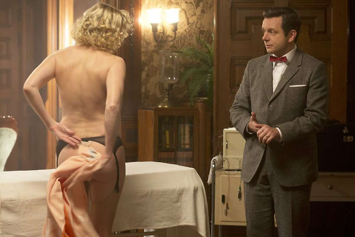 Nicholle Tom as Maureen and Michael Sheen as Dr. William Masters in