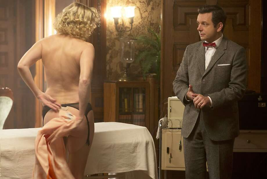 "Nicholle Tom as Maureen and Michael Sheen as Dr. William Masters in ""Masters of Sex."" Photo: Peter Iovino/Showtime"