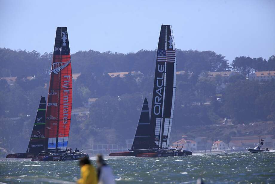 Team Oracle battles Team Emirates for the win during the final America's Cup race on Wednesday Sept. 25, 2013 in San Francisco Calif. Photo: Mike Kepka, The Chronicle