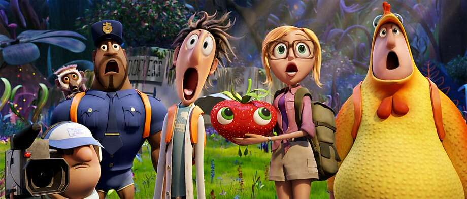 "Manny (left), Steve the Monkey, Earl, Flint, Barry the Strawberry, Sam Sparks and Brent are among the characters in ""Cloudy With a Chance of Meatballs 2."" Photo: Courtesy Of Sony Pictures Animat, Sony Pictures"