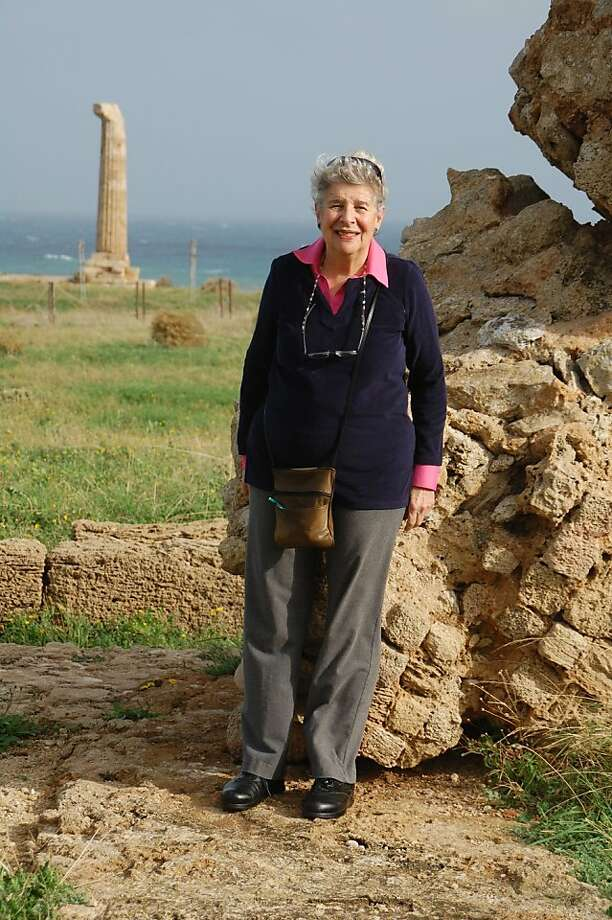 Cathy Robbins of San Francisco at Capo Colonna, the single surviving column from the Temple of Hera, near Crotone. Photo: Courtesy Cathy Robbins
