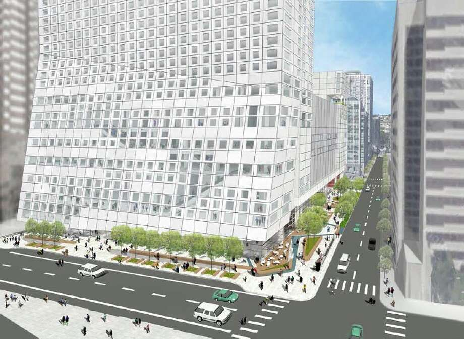 A proposed Downtown hotel tower would slant in from its podium base, according to new project depictions.The 2.1 million-square-foot project would take up the block bordered by 8th and 9th avenues and Stewart and Howell Streets. It would comprise six levels of underground parking, with 719 spaces; an extra-tall ground level with retail space, lobbies and lounges; a 6,600-square-foot park; a five-story podium with meeting and ballroom spaces; a 41-story, 1,680-room hotel on the southern side; and a 154 affordable homes in a nine-stories on the north.Developer R.C. Hedreen Co. and LMN Architects released the new renderings ahead of a design review meeting scheduled for Oct. 1. Click on for more images and details. Photo: R.C. Hedreen Co.,  LMN Architects