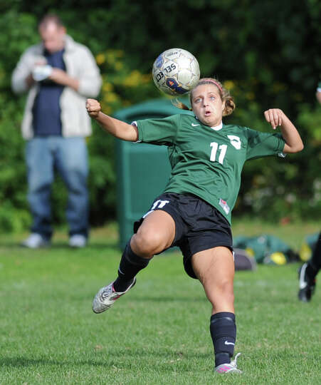 Alexandra LaMantia (# 11) of Greenwich Academy during the girls high school soccer match between Gre